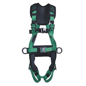 MSA V-FIT Full Body Harness with back D-Ring, front loops, 2 side D-Rings, waist pad and bayonet buckles