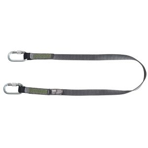 Restraint lanyard, webbing, 1.5m fixed length, steel screwgate carabiners