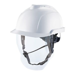V-Gard 950 Cap, Non-Vented, White, with 4 point chinstrap fitted and reusable bag