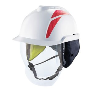 V-Gard 950 Cap, Non-Vented, White, Arc flash ear flaps, with 4 point chinstrap fitted and reusable bag
